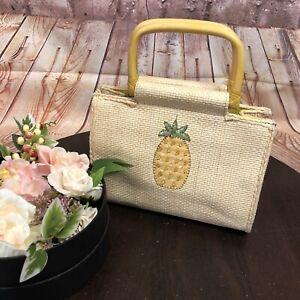 Vintage Forever Fossil Straw Bamboo Pineapple Handbag Purse EUC