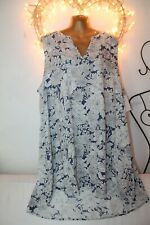 NEW FLOWING LIGHT COOL WHITE BLUE TUNIC TOP SUMMER DRESS 28 £49 HOLIDAY PARTY