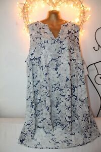 NEW FLOWING LIGHT COOL WHITE BLUE TUNIC TOP DRESS 28 £49 HOLIDAY PARTY BBW SHOP