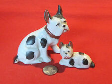 Vintage porcelain French Bulldog mother and puppy figurine set