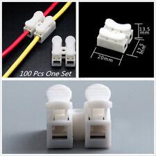 100Pcs Car 2-Pin Quick Splice Cable Connectors Lock Wire Terminals Self Locking