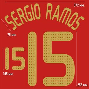 Sergio Ramos 15. Spain Home football shirt 2008 - 2009 FLEX NAMESET NAME SET
