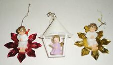 3 Vtg Christmas Ornaments - Angels On Tin Star -In Mica Coated Lantern - Germany