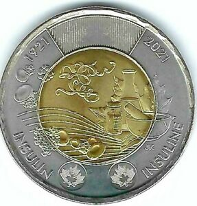 2021 Canada Brilliant Uncirculated $2 Discovery of Insulin Toonie Coin!