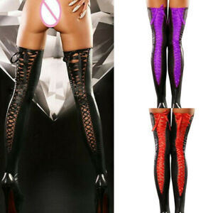 Sexy Club Women Knot Thigh-high Stockings Leather Lace Bow Long High Socks