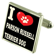 I Love My Dog Sterling Silver 925 Cufflinks Parson Russell Terrier