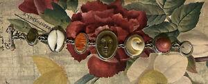 TABRA VINTAGE TREASURE BRACELET - STERLING SILVER - CELESTIAL FACE, SHELLS, MORE