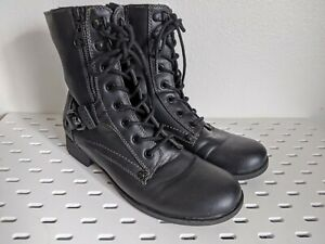 G by Guess Black Womens Brylee Moto Boot size 7.5 Faux Leather Buckles Lace up