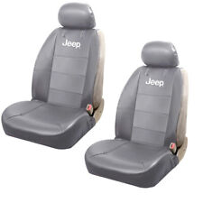 JEEP Elite Gray Synthetic Leather Car Truck Suv 2 Front Sideless Seat Covers Set