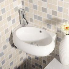UEnjoy Eckwaschbecken Keramik Waschschale Oval Design mit Überlauf und Hahnloch