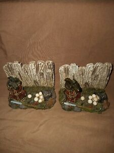 Vintage  GOLF THEMED BOOK ENDS NICE HEAVY RESIN!