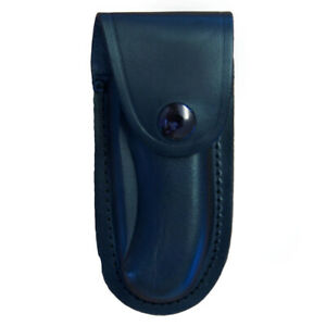 Shaped Leather Folding Knife Pouch Small Black up to 10.5cm Closed Length