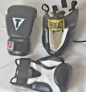 Title 12 oz Boxing Gloves, Kick Boxing,Martial Arts; Everlast Head Gear, Men Reg