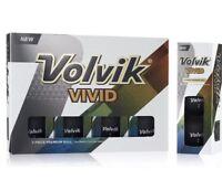Volvik Vivid Matte Finish Premium 3-Piece Golf Balls Matte Black NEW 1 Dozen