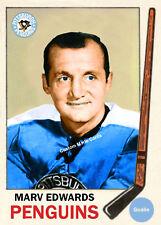 Custom made Topps 1969-70 Pittsburgh Penguins Marv Edwards hockey card blue