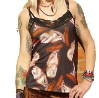 BROWN OWL PRINT LONG VEST TOP CAMISOLE GOTHIC ALTERNATIVE EMO SIZE 8-18