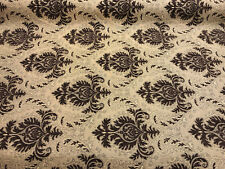Sabrina Dark Brown Gold Damask Fabric Chenille Upholstery Fabric by the yard