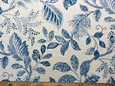 P Kaufmann Autumn Leaves Sky 90% Cotton blend blue and white leaf print fabric