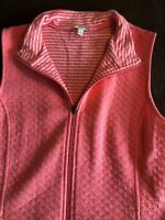 TALBOTS quilted vest - M - Coral Cotton Pockets Stripe Lining Top