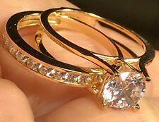 14k GOLD Ring Band Duo Set Engagement Wedding Semi Eternity 2 pc round 7 5 6 8 9