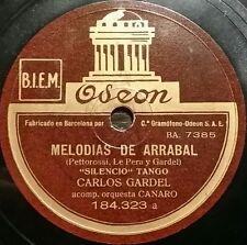 TANGO 78 rpm RECORD Odeon CARLOS GARDEL Silencio / Cuando tú no estás SPAIN Rare