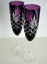 2 FABERGE ODESSA AMETHYST CASED CUT TO CLEAR CRYSTAL CHAMPAGNE FLUTE SIGNED