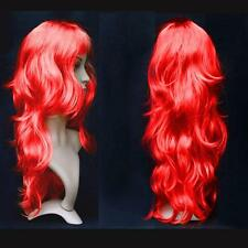 Women Long Curly Wavy Wig Cosplay Costume Party Fancy Dress Red UK