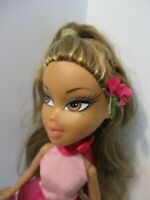 BRATZ DOLL DARK BROWN HAIR PINK PARTY DRESS & 2 PAIR OF HIGH HEEL SHOES