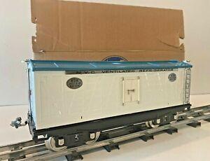 MTH STANDARD GAUGE LIONEL 214R NYC WHITE & BLUE W/ NICKEL TRIM REFRIGERATOR CAR