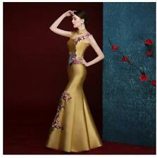 Chic Cheongsam Chinese Women Wedding Retro Embroidery Evening Party Long Dress