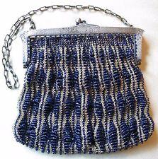 Antique Art Nouveau Deco Silver Floral Frame Cobalt Blue Tan Crochet Bead Purse