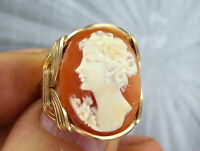 VINTAGE ANTIQUE SHELL CAMEO RING /_/_/_ 14KT ROLLED GOLD  SIZE 5 TO 13 WIRE WRAPPED