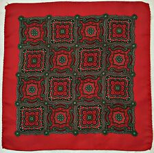 """VINTAGE AUTHENTIC GEOMETRIC PLAID RED GREEN SILK 13"""" SQUARE POCKET SMALL SCARF"""