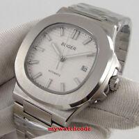 square 40mm bliger white dial luminous mark steel bracelet automatic mens watch