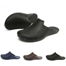 Chic Mens Leisure Solid Slip On Hollow Out Slides Flat Closed Toe Beach Slippes