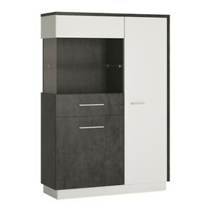 Compact and Functional Low Display Cabinet (LH) in Grey and White W103xH151xD38