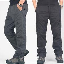 Men loose casual cargo pants winter Warm fur thicken overalls outdoor trousers
