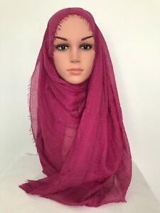 Premium Cotton Viscose Maxi Crinkle Muslim Hijab Scarf Wrap 180x100cm U.S.seller