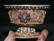 "4""Rare Old Tibet Filigree silver mosaic ruby green gem Goblet wineglass cup bowl"