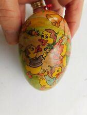 Vtg East German Hanging Paper Mache Easter Egg Candy Holder Baby Ducks Bell