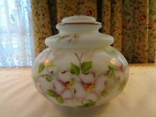 GORGEOUS VINTAGE HAND PAINTED SATIN GLASS LIDDED BISCUIT JAR-DOGWOOD FLOWERS