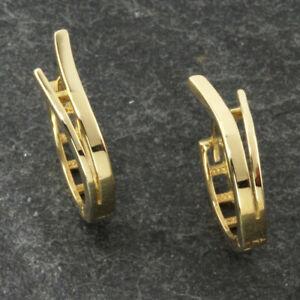 Ohrringe Creolen Klappcreolen echt Gold 585 (14kt) in matt/poliert