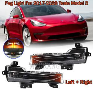 PAIR LED Bumper Fog Light Lamps For 2017-2020 Tesla Model 3 UP-Level Left Right