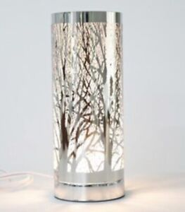 Silver Tree Woodland Design Aroma Electric Touch Lamp Oil Burner Wax Melts 26cm