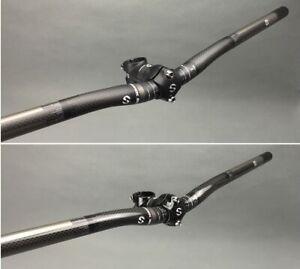 3K Carbon Road MTB bike handlebar riser Bar 25.4*380-580mm w stem 50 60 70 80