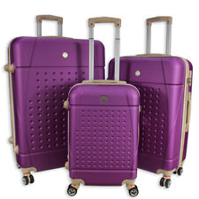 Rocklands Lightweight 4 Wheel Hard Shell Luggage Set Suitcase Cabin Bag ABS 18
