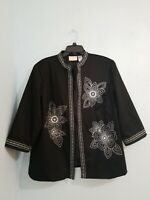 Alfred Dunner Women's Plus Blazer 3/4 Sleeve Open Front Embroidered Black.Sz 18W