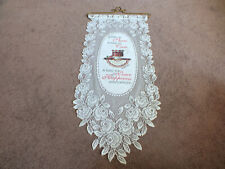 Collectible Beautiful Lace Wall Hanging White Time To Share 26 x 12 +Hanger Nice