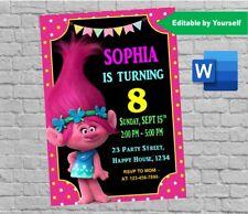 Trolls Poppy Birthday Party Invitation template Editable & Printable digital doc