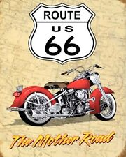ROUTE 66 AMERICAN HIGHWAY USA BIKER MOTORCYCLE METAL PLAQUE TIN SIGN N443